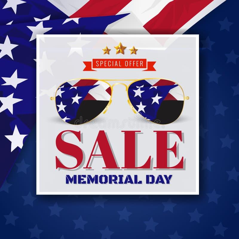 Memorial Day -de Banner van de Achtergrond verkoopbevordering Ontwerp stock illustratie