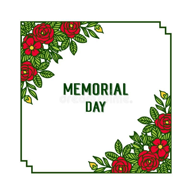 Memorial Day de la bandera del ejemplo del vector con el marco rojo de la flor de la diversa textura stock de ilustración