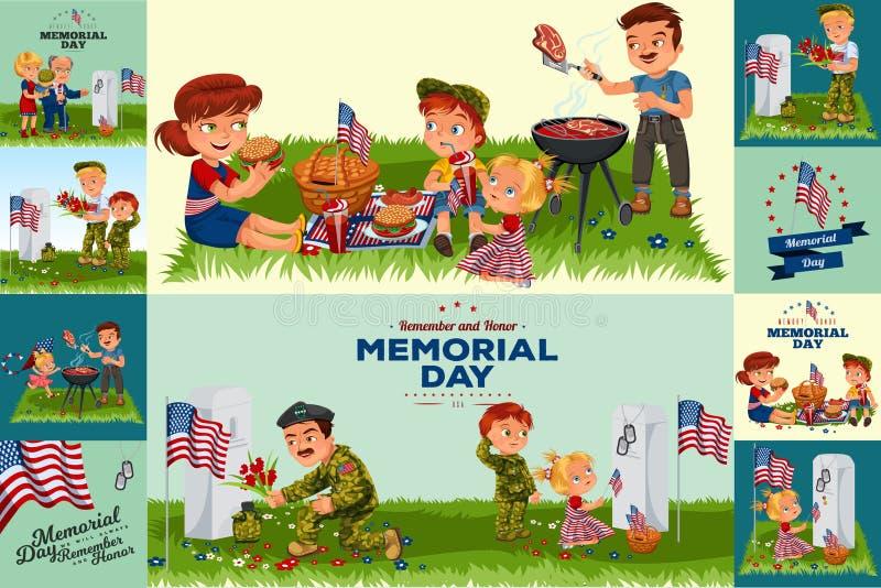 Memorial Day Disposición de diseño de la tipografía para los eventos de los E.E.U.U. Memorial Day, ventas, ilustrador del vector  stock de ilustración