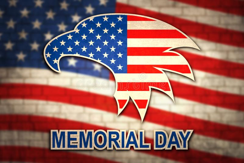 Memorial Day with eagle in national flag colors on background of brick wall. American nationally symbol stock photo