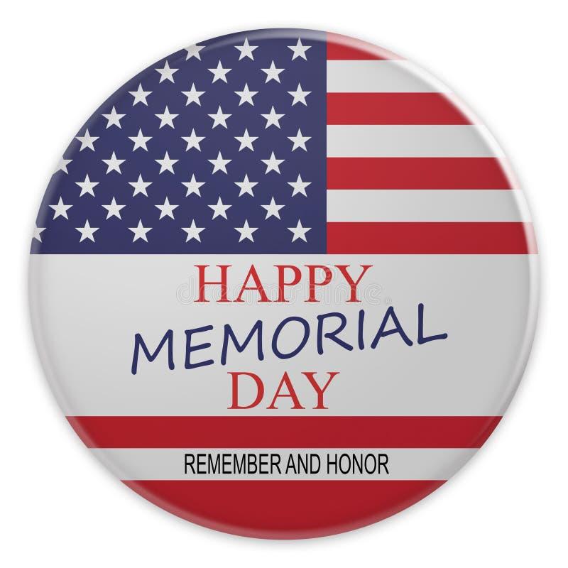 Memorial Day feliz com crachá da bandeira dos E.U., ilustração 3d ilustração stock