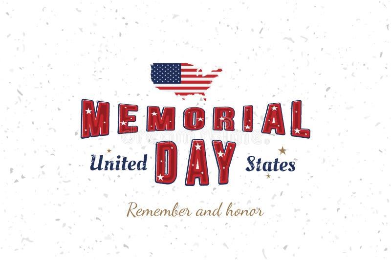 Memorial Day feliz La tarjeta de felicitaci?n con la fuente original y los E.E.U.U. trazan y bandera Plantilla por d?as de fiesta stock de ilustración