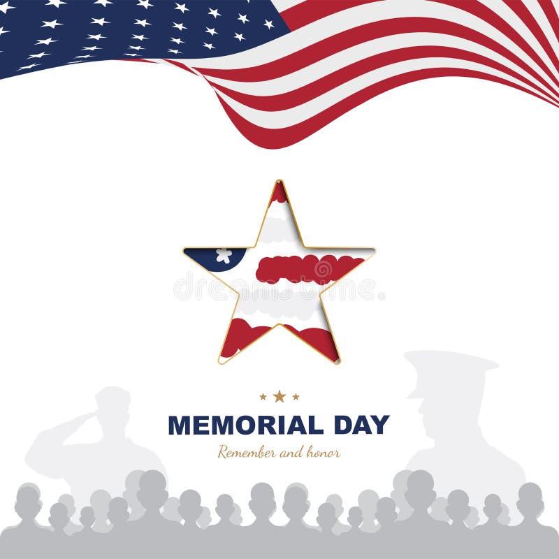 Memorial Day feliz Molde do cartão com a bandeira dos EUA com as silhuetas da estrela e do veterano no fundo branco naturalizado ilustração do vetor