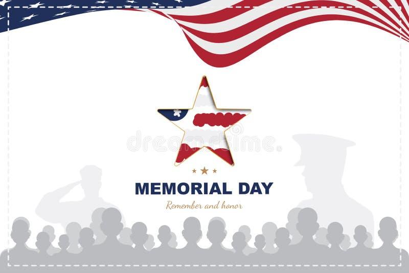 Memorial Day feliz Molde do cartão com a bandeira dos EUA com as silhuetas da estrela e do veterano no fundo branco naturalizado ilustração stock