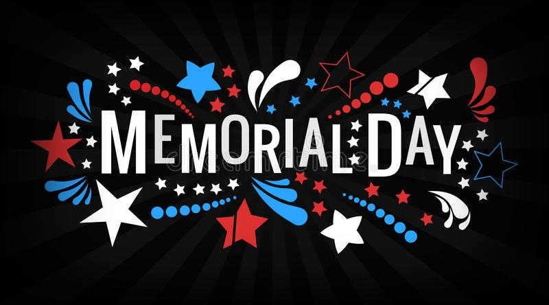 Memorial Day feliz que rotula a frase no vetor Ilustra??o americana nacional do feriado com estrelas e sum?rio da cor ilustração stock