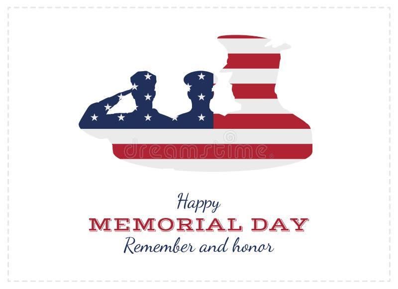 Memorial Day feliz Tarjeta de felicitación con la bandera y el soldado Evento americano nacional del día de fiesta Ejemplo plano  ilustración del vector