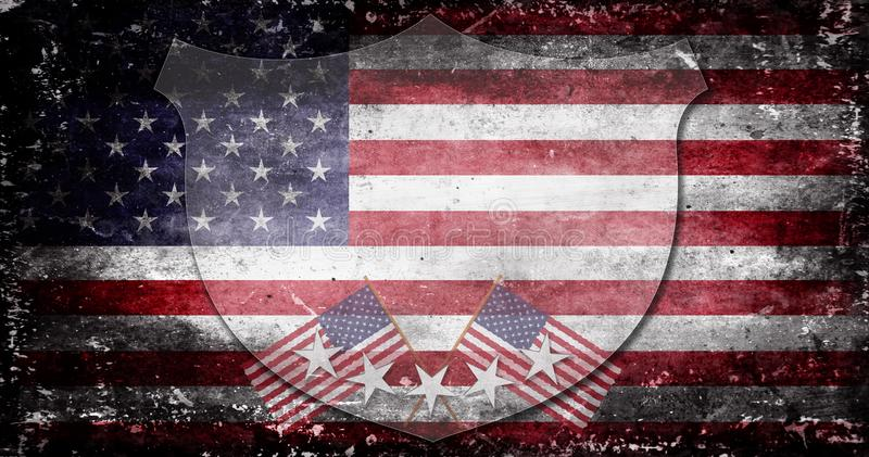 Memorial Day - flag and lettering stock illustration