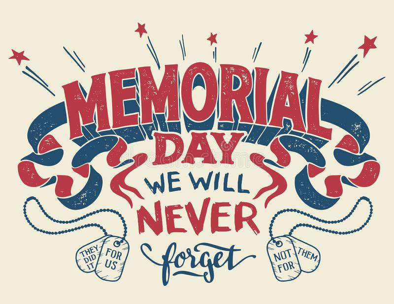 Memorial Day hand lettering greeting card stock images