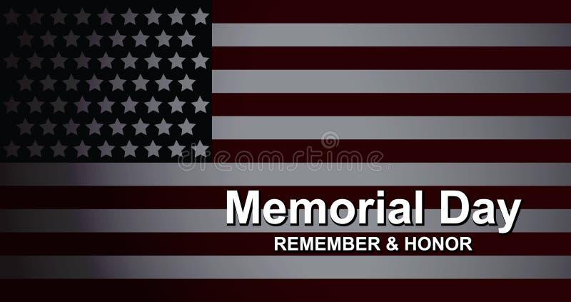 Memorial Day herinnert en eert met de V.S. vlag, Vectorillustratie Het malplaatje van de vieringsbanner met Amerikaans vlagdecor royalty-vrije illustratie
