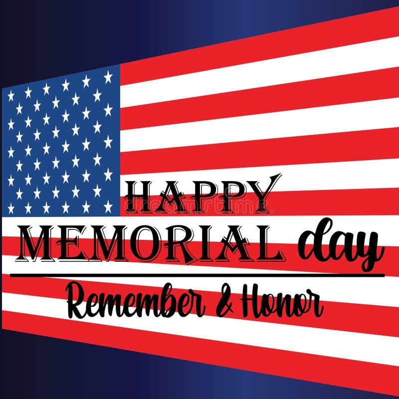 Memorial Day herinnert en eert met de V.S. vlag, Vectorillustratie - Het vector stock illustratie
