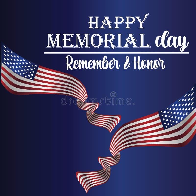 Memorial Day herinnert en eert met de V.S. vlag, Vectorillustratie - Het vector royalty-vrije illustratie