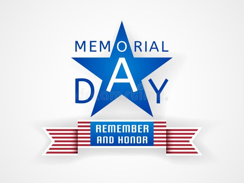 Memorial Day herinnert zich en eer met de vlag van de V.S. royalty-vrije illustratie