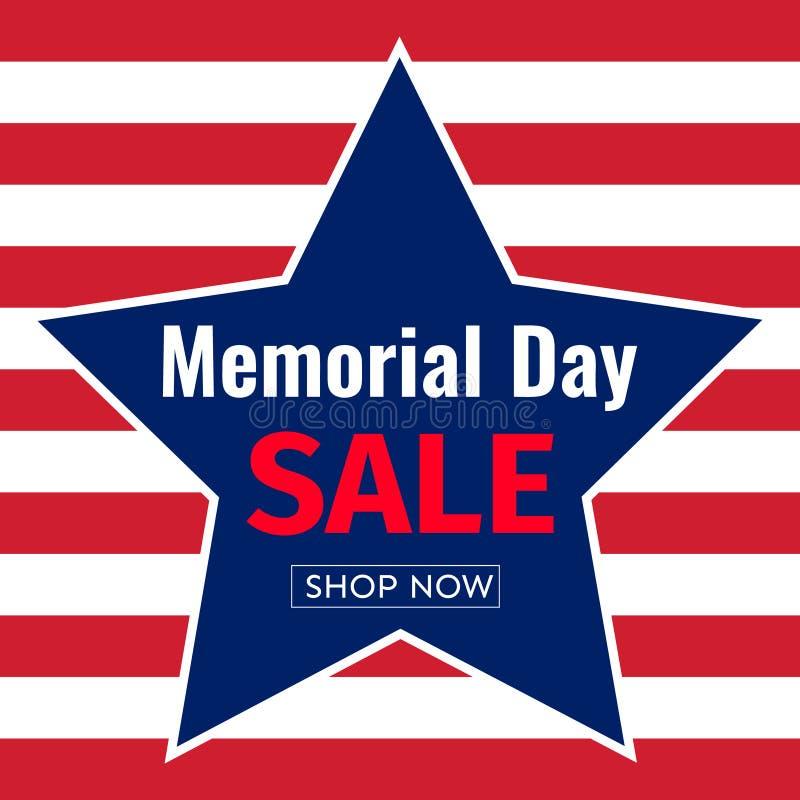 Memorial Day -het malplaatjeontwerp van de Verkoopbanner van nationale vlagkleuren stock illustratie