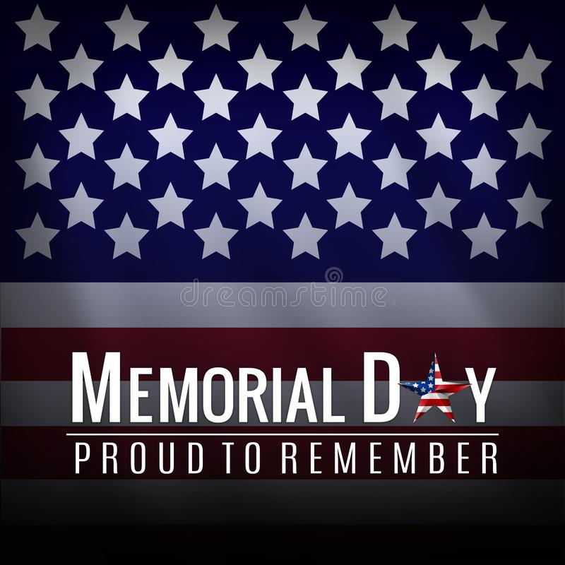 Memorial Day -Hintergrund mit amerikanischer Staatsflagge, Sternenbanner Schablone f?r Memorial Day -Einladung, Gru? stockfoto