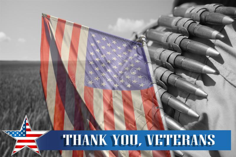Memorial day honoring all who served and text `Thank you veterans` stock photos
