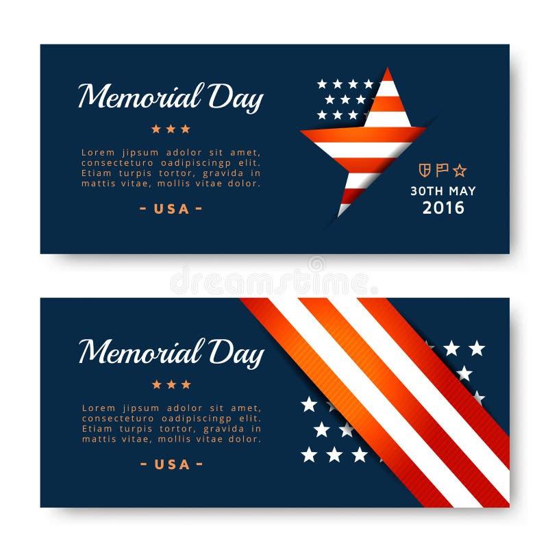 Memorial Day -Karten lizenzfreie abbildung