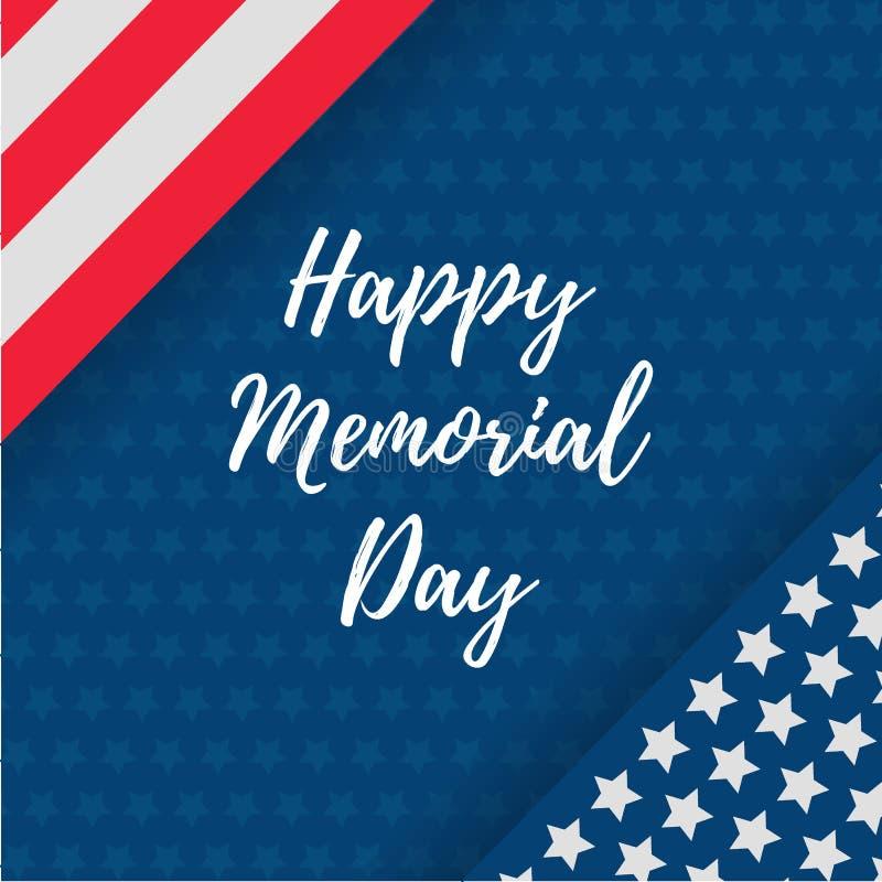 Memorial Day kartka z pozdrowieniami z usa flagą, Wektorowa ilustracja Świętowanie sztandaru szablon z flaga amerykańska wystroje royalty ilustracja