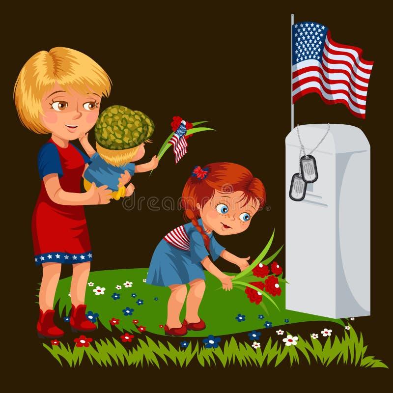 Memorial Day, mãe com cemitério da criança, menina coloca flores no veterano de guerra grave, esposa da família com crianças ilustração do vetor