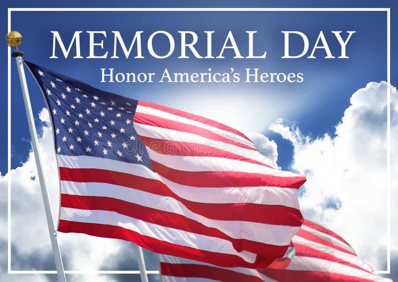 Memorial Day Meme Image Art America`s Heroes. United States Flags Sky Honor Veterans Vets royalty free stock photos