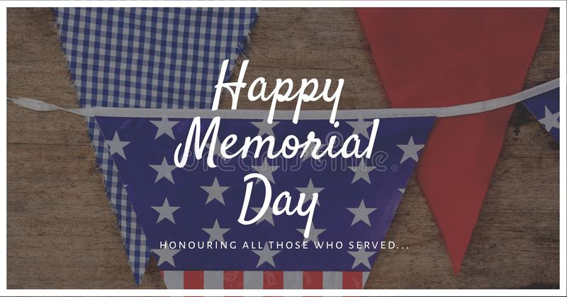 memorial day message with bunting photo background and white outline royalty free stock photo