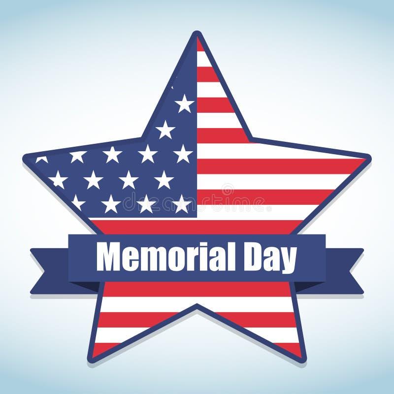 Memorial Day met ster in nationale de vlagkleuren van de V.S. Vector illustratie vector illustratie