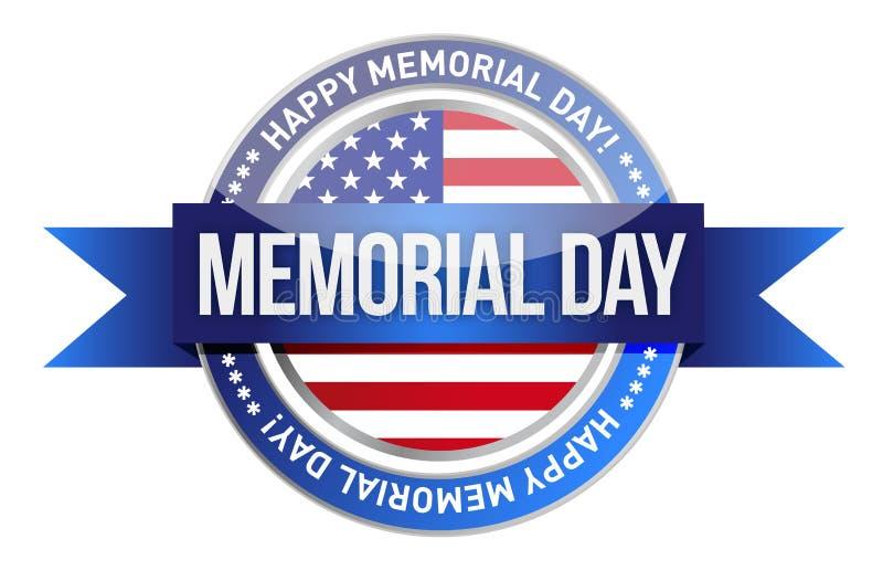 Memorial Day. nosotros sello y bandera stock de ilustración