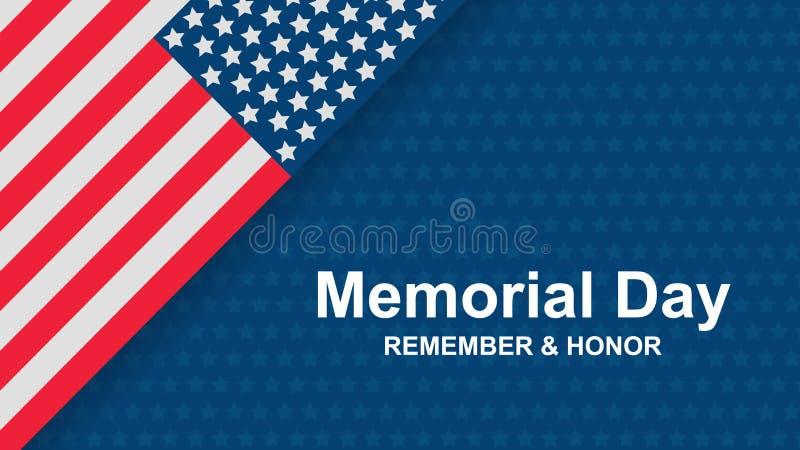 Memorial Day Pamięta i honor z usa flagą, Wektorowa ilustracja Świętowanie sztandaru szablon z flaga amerykańska wystrojem ilustracji