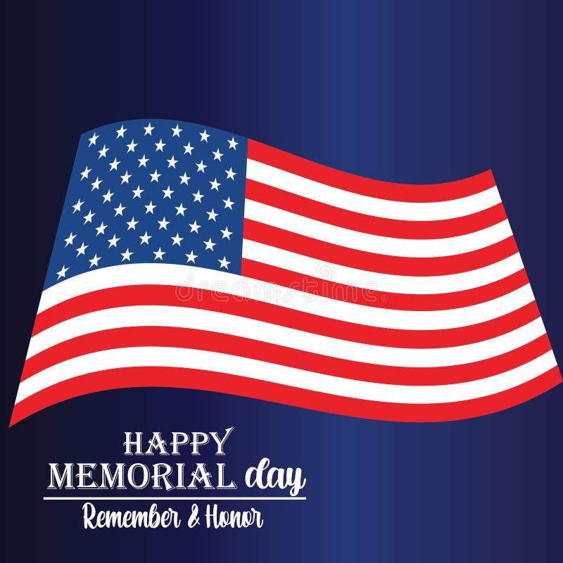 Memorial Day Pami?ta i honor z usa flag?, Wektorowa ilustracja ()- Wektor kartoteka ilustracji