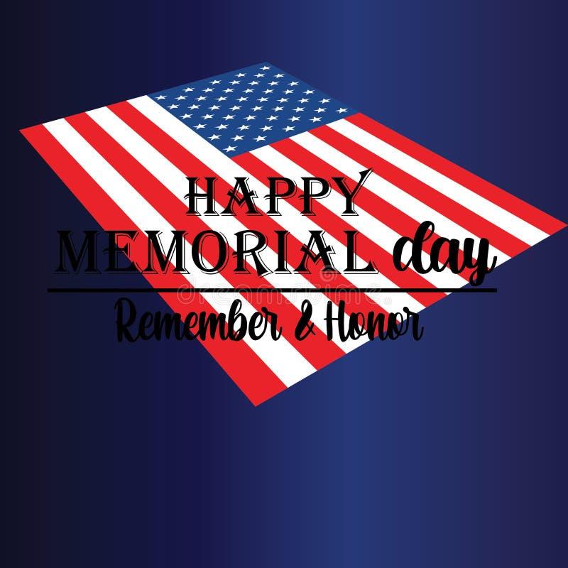 Memorial Day Pami?ta i honor z usa flag?, Wektorowa ilustracja ()- Wektor kartoteka royalty ilustracja