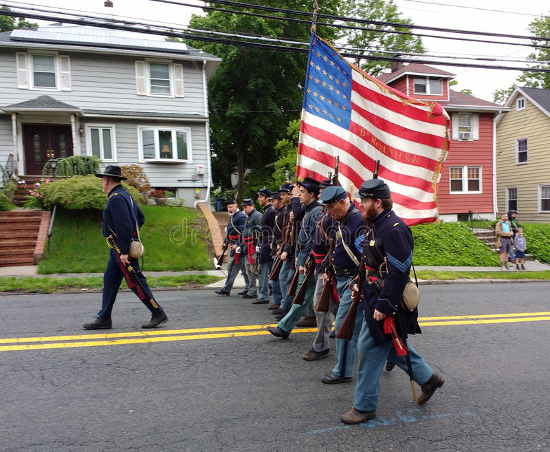 Memorial Day Parade, Historical Reenactment, Regiment Marching, USA stock photography