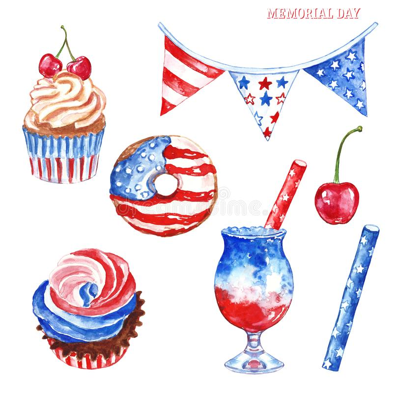 Memorial day party decor. Red, white and blue watercolor hand painted desserts, isolated on white background vector illustration