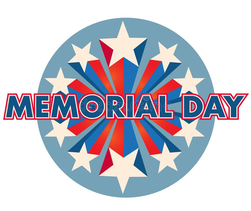 Memorial Day Pop Art Banner Starburst América imagens de stock