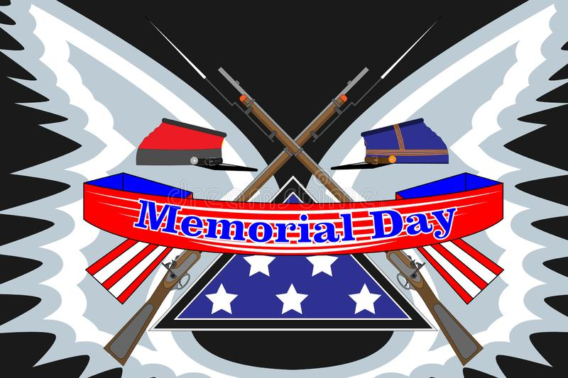 Memorial Day poster. Patriotic holiday banner with flag, veteran attributes like military and war signs and ammunition. USA vector illustration