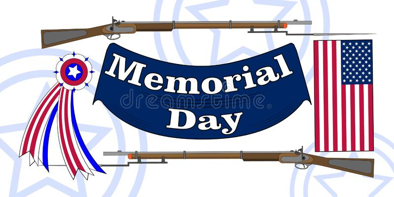 Memorial Day poster. Patriotic holiday banner with flag, veteran attributes like military and war signs and ammunition. USA royalty free illustration