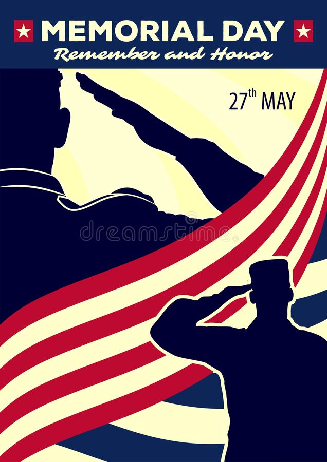 Memorial day poster template. US Army soldiers saluting on american flag background. Vector illustration.  stock illustration