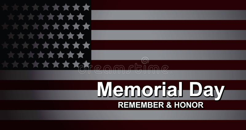 Memorial Day recuerda y honra con la bandera de los E.E.U.U., ejemplo del vector Plantilla de la bandera de la celebración con la libre illustration