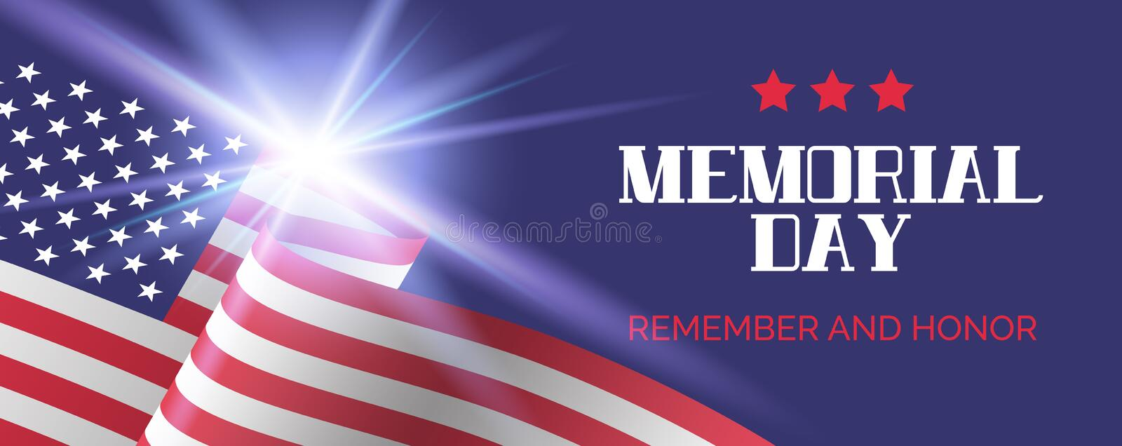 Memorial day. Remember and honor. Vector greeting banner template royalty free illustration