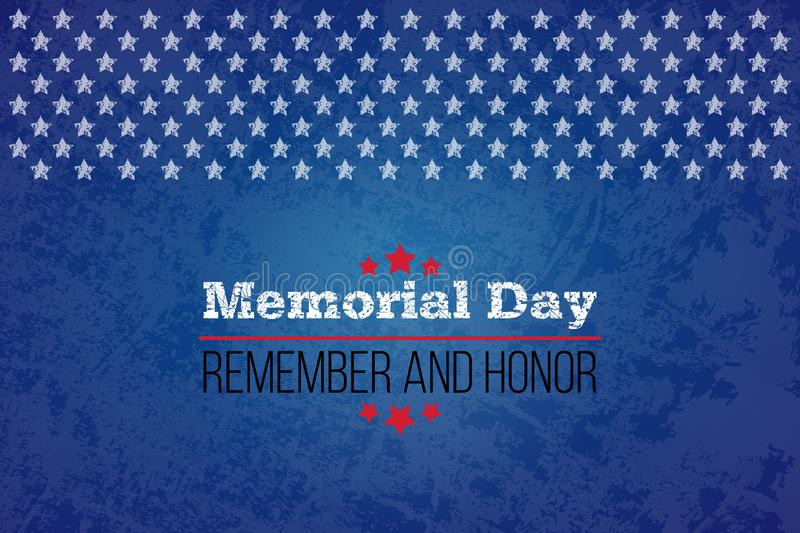 Memorial day. Remember and honor. Vector llustration for American holiday. Design template for poster, banner, flayer stock illustration