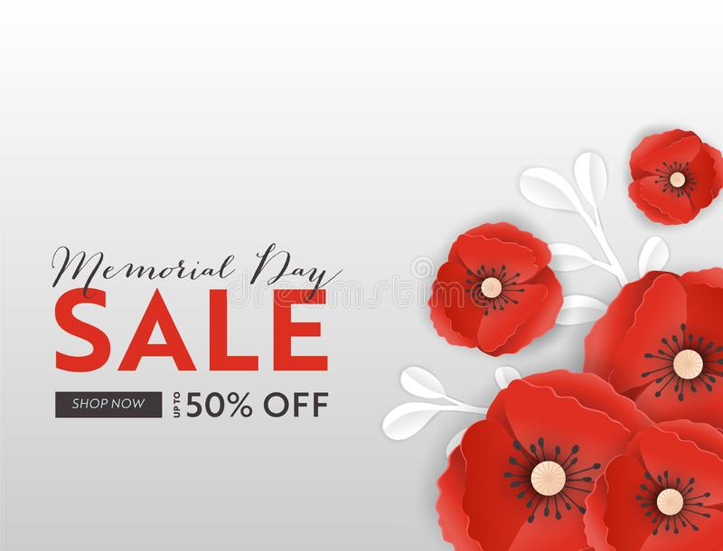 Memorial Day Sale Banner with Red Paper Cut Poppy Flowers. Remembrance Day Discount Poster with Symbol of Peace Poppies vector illustration