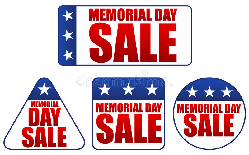 Memorial Day Sale Stickers stock illustration