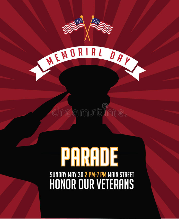 Memorial Day saluting soldier marketing background design. EPS 10 vector royalty free illustration