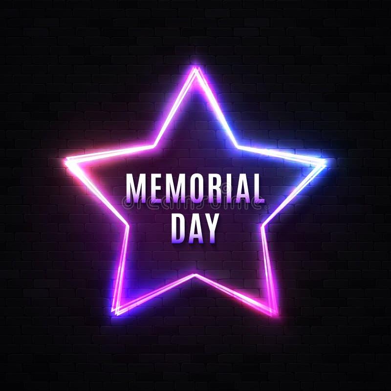 Memorial Day sztandar na czarnej ścianie z cegieł Neonowego światła lampy gwiazdy prowadzący tło Patriotyczny usa projekt z rozja ilustracja wektor