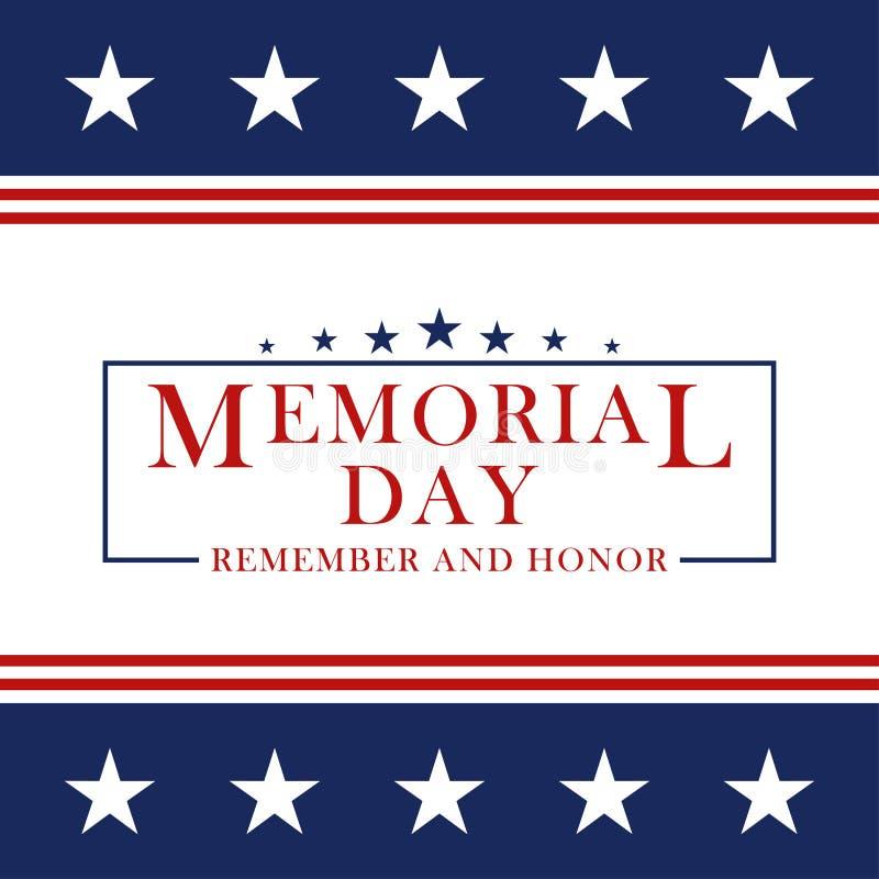 Memorial Day tło z gwiazdami i lampasami Szablon dla Memorial Day zaproszenia, kartka z pozdrowieniami, sztandar i ilustracji
