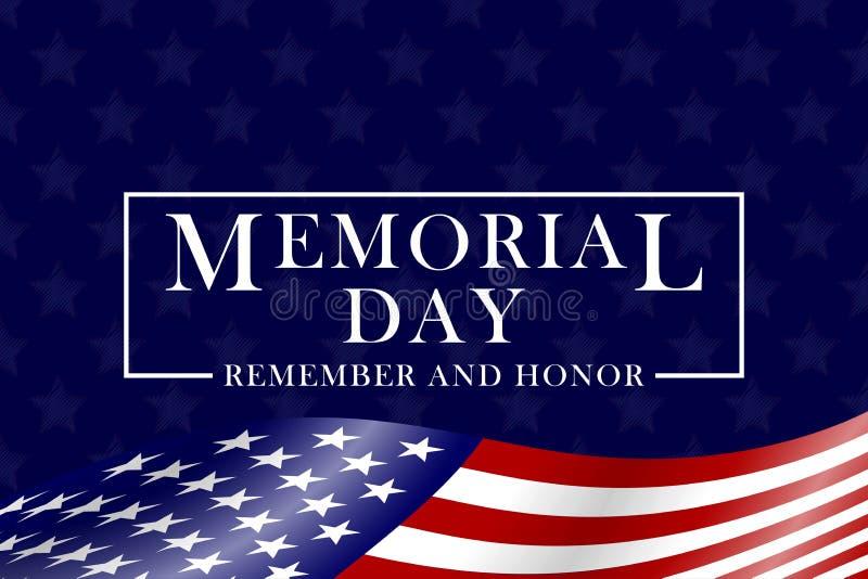 Memorial Day t?o z usa literowaniem i flag? Szablon dla dnia pami?ci projekta wektor ilustracji