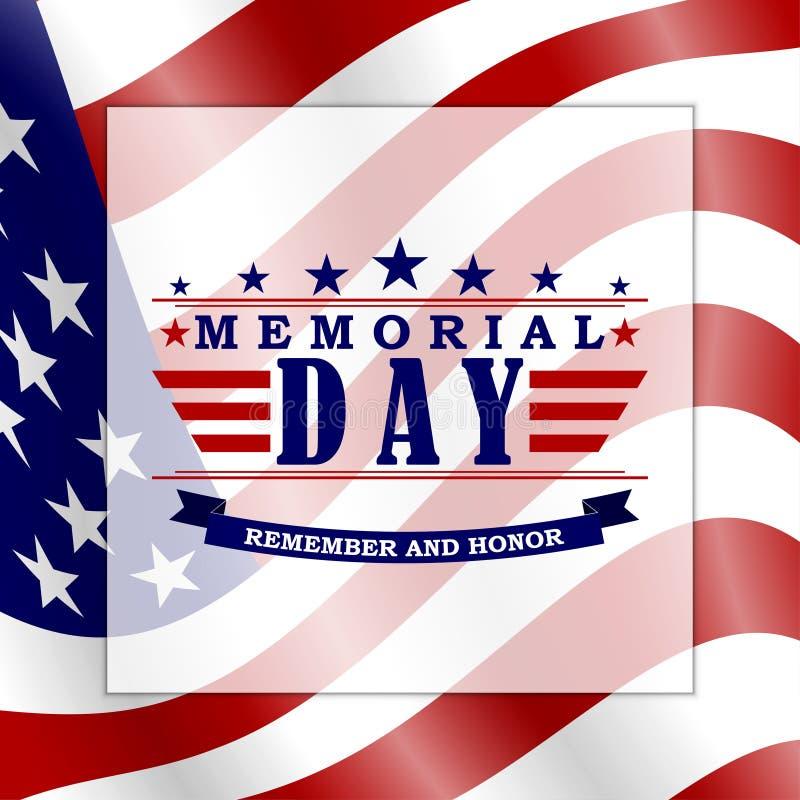 Memorial Day t?o z usa literowaniem i flag? Szablon dla dnia pami?ci projekta wektor ilustracja wektor