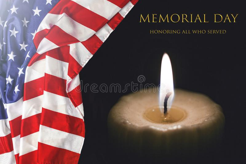 MEMORIAL DAY, US flag, usa, burning candle,. Text MEMORIAL DAY with the American flag and a burning candle Honoring all who served stock photography