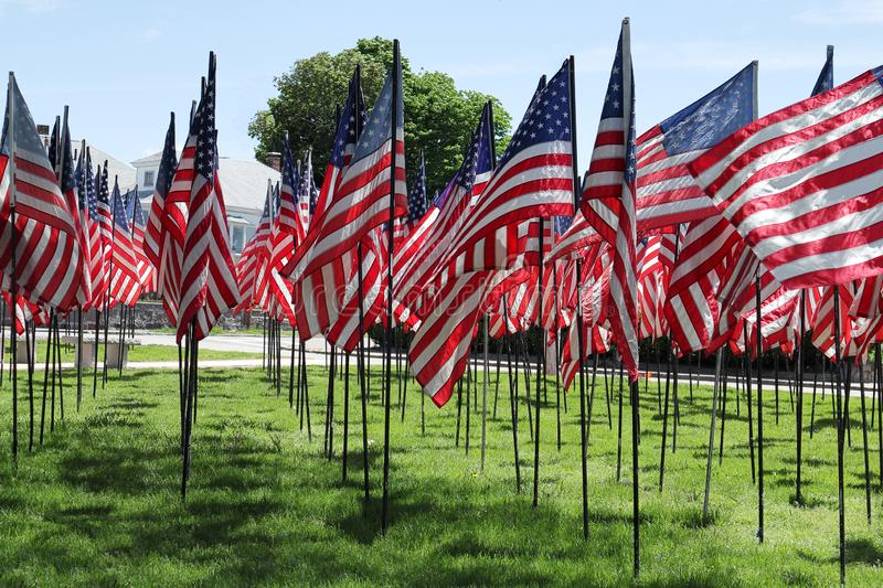 Memorial Day in USA - American flags arranged in rows on Fort Square. Quincy, Massachusetts royalty free stock photo