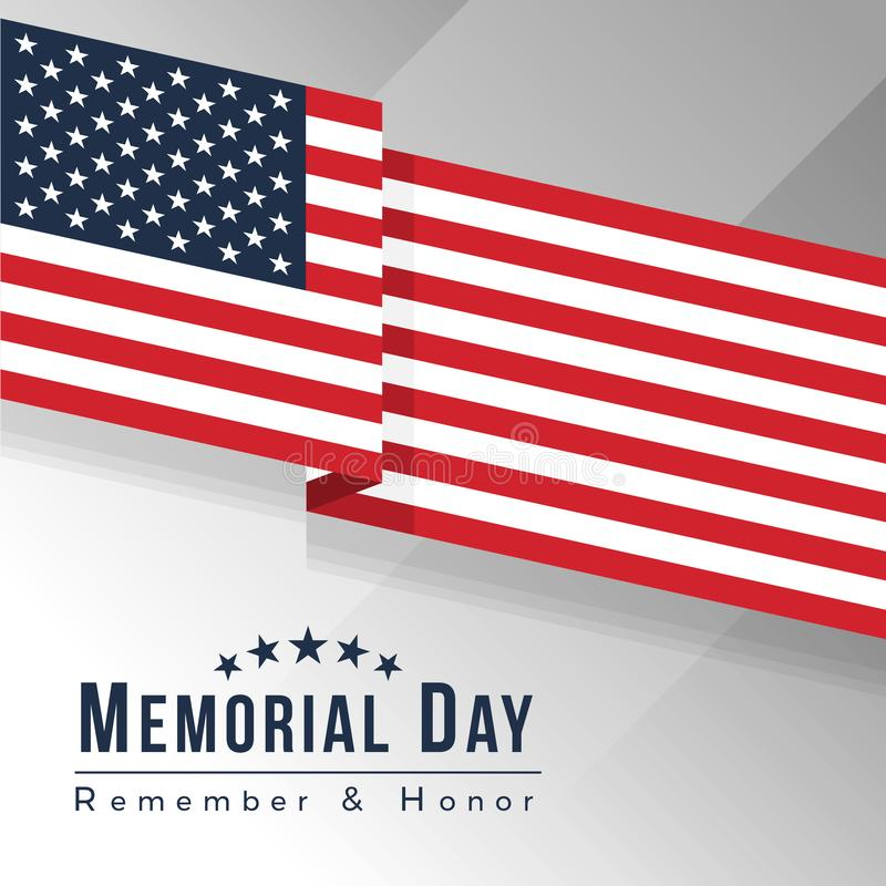Memorial day for usa banner with usa flag or America flag Waving sharp corners vector design vector illustration