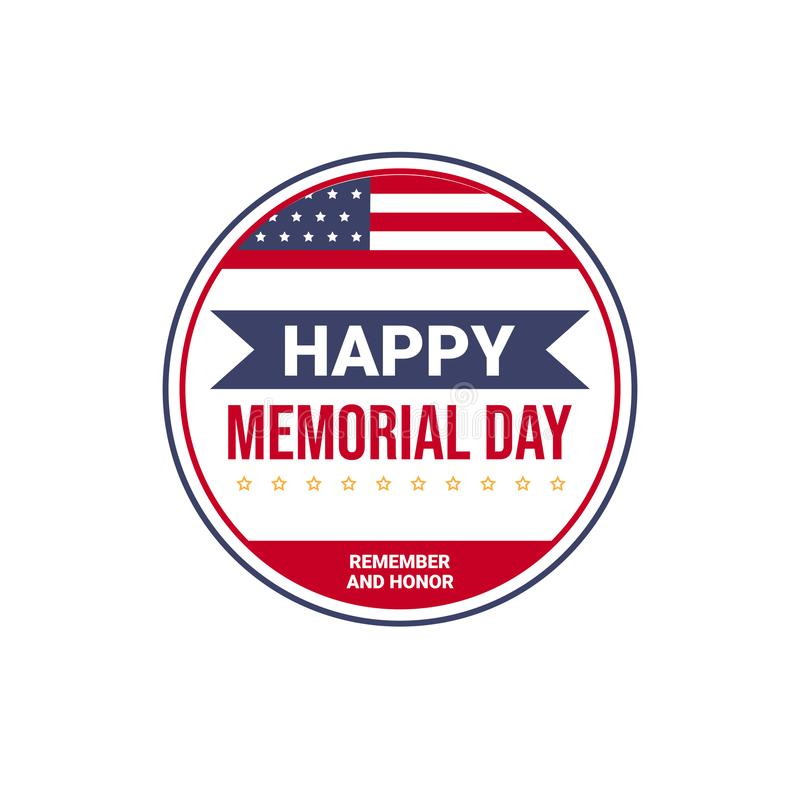 Memorial day USA greeting card wallpaper, national american flag with stars on white background, flat design vector illustration