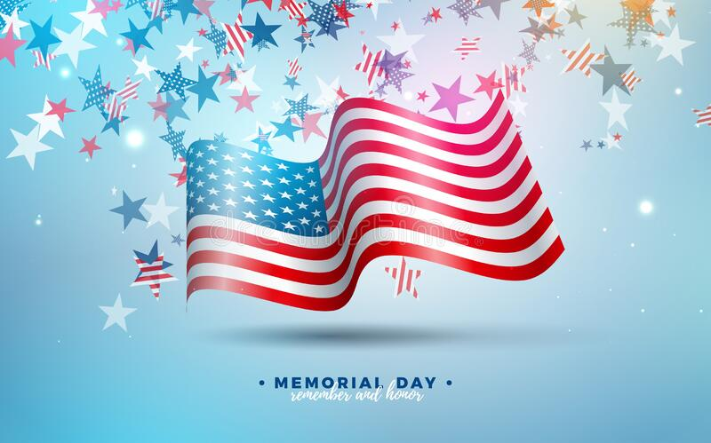 Memorial Day of the USA Vector Design Template with American Flag on Falling Colorful Star Background. National royalty free stock photo